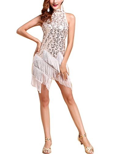 Womens 1920s 20s Vintage Tassel Flapper Gala Fancy Dresses Costumes, White/Gold, (Black And White Dance Costume)