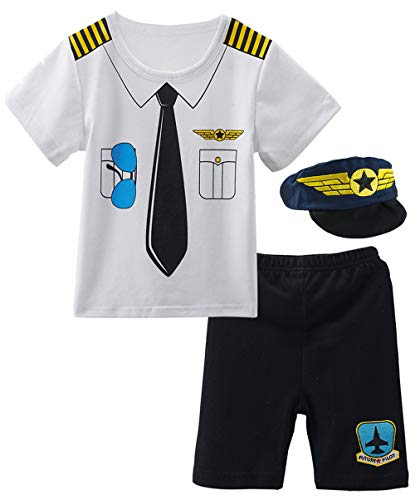 COSLAND Toddler Baby Boys' Costume Pilot Short Clothing Sets Hat (Pilot, 18-24 Months) -