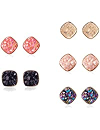 Fashion Resin Square Colorful Faux Druzy Stone Stud Earrings for Women and Teens