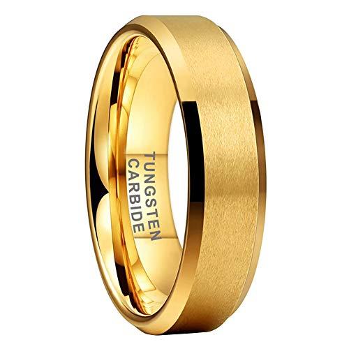 iTungsten 4mm 6mm 8mm 18K Gold Tungsten Carbide Rings for Men Women Wedding Bands Matte Finish Beveled Edges Comfort Fit