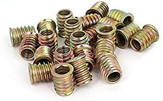 TOOGOO Brass Tone M8 E-Nut 25 Pcs M8 E-Nut Wood Insert Interface Screws Hex Socket Nut Fittings R