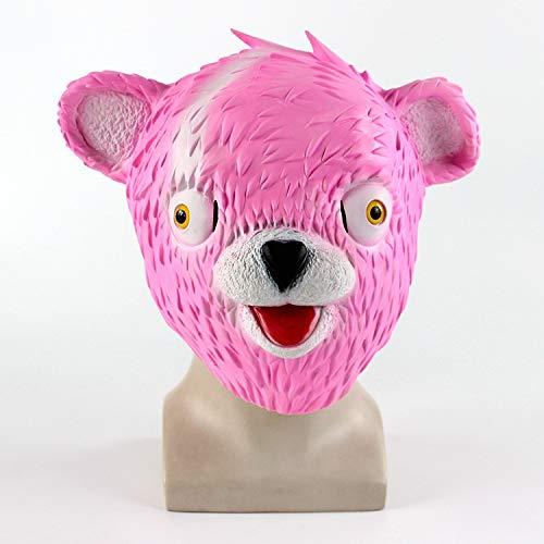 Bear Mask Cuddle Team Leader Pink Bear Fortnite Game Halloween Mask Melting Face Adult Latex Costume Toy -