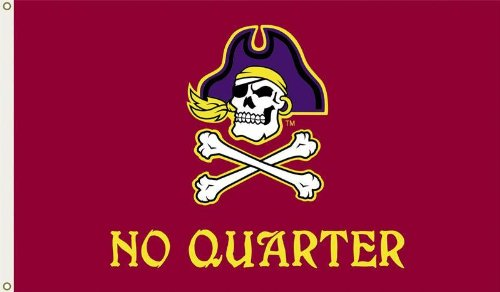 Pirates Metal Clock - NCAA East Carolina Pirates 3-by-5 Foot Flag No Quarter with Grommets