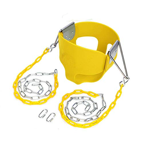 (JOYMOR Outdoor High Back Full Bucket Toddler Swing Seat with Plastic Coated Chain for Kids (Yellow))