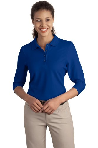 Port Authority Ladies Silk Touch 3/4-Sleeve Polo, Royal, Large (Top 3/4 Sleeve Silk)