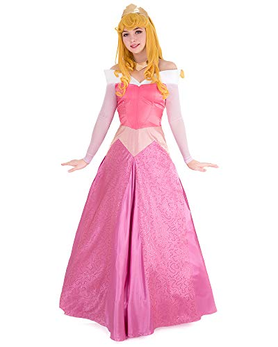 Cosplay.fm Women's Aurora Pink Dress Briar Rose Costume with Crown (M)