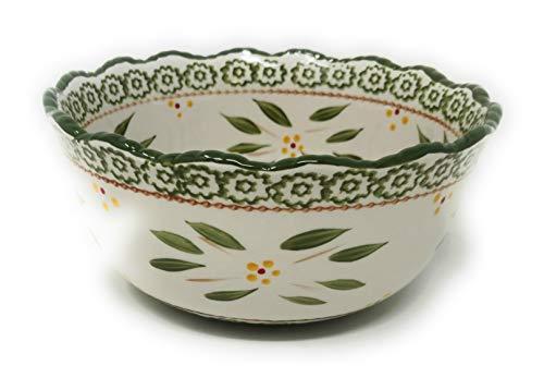 Temp-tations 1.5 Qt Bowl w/Scalloped Edge, Mix, Bake, Serve, Stoneware (Old World Green)