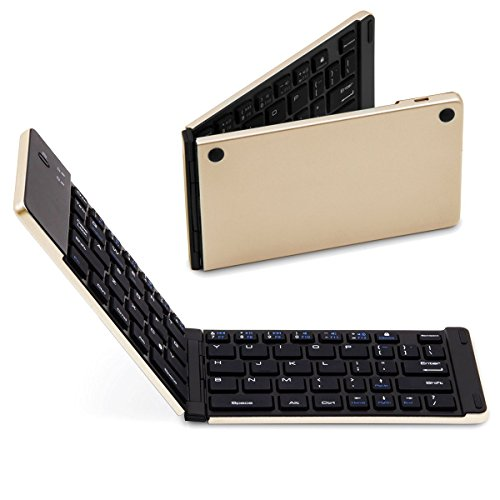 SMICK Foldable Wireless Bluetooth Keyboard for iPad, Macbook, iPhone7 etc.,F66 GOLD