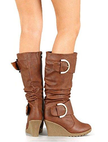 Top Moda Pure 65 65 Pure Damenschuhe Buckle Slouch Wedge Stiefel, Tan PU, 7 ... f722af