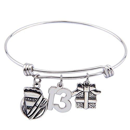 SEIRAA Birthday Bracelet Birthday Gifts Adjustable Bangle Sweet Charm Bracelet 13th 16th 21th 30th (13th Birthday)