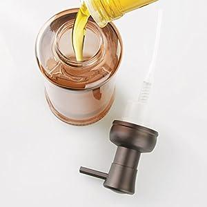 InterDesign Hamilton Glass Foaming Soap Dispenser Pump for Kitchen and Bathroom Countertop - Sand/Bronze