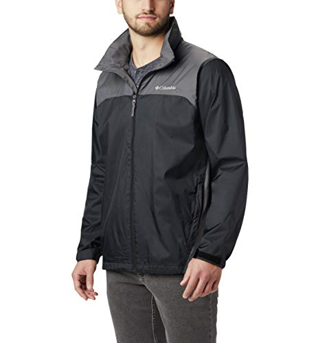 Men Lightweight Jacket - Columbia Men's Glennaker Lake Front-Zip Rain Jacket with Hideaway Hood, Black/Grill, 3X