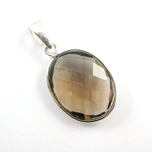 Bezel Gem Pendant with Bail - Smokey Quartz-Sterling Silver Oval Faceted Gemstone ()