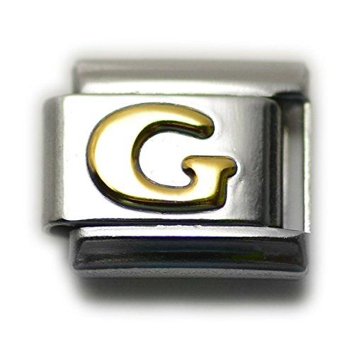 Dolceoro Initial G Letter Alphabet, 9mm Type Italian Modular Charm Bracelet Link - Stainless Steel
