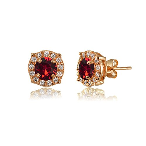 Rose Gold Flashed Sterling Silver 5mm Round Halo Fancy Stud Earrings created with Swarovski Crystals