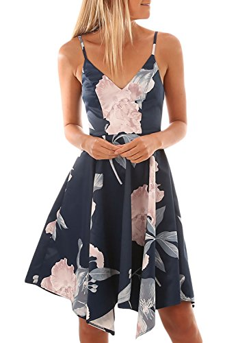 Floral V Spaghetti Casual Womens Summer Asymmetrical Asvivid Midi Dress Straps Blue Neck Sleeveless z6UxqO