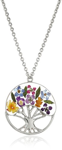 Sterling Silver Multi-Pastel Pressed Flower Tree of Life Pendant Necklace, 16