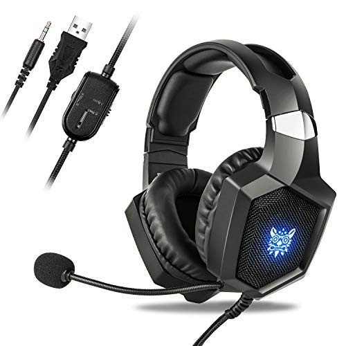 Gaming Headset Compatible Xbox One, Fuleadture Headset PS4 with Mic, PC,Noise Cancelling Over Ear Headphones with LED Light Bass Surround Soft Memory Earmuffs