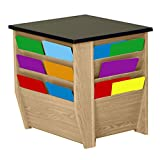 Wooden Mallet End Table with Magazine Pockets with Black Granite Look Top, Light Oak