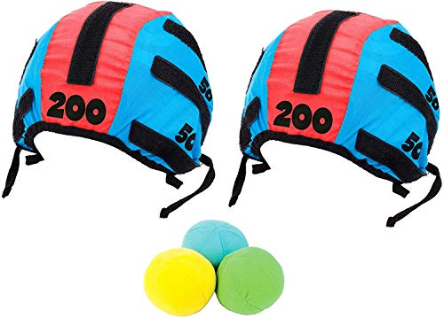 Tossing Head Games for Adults and Kids - Hook and Loop Tape Target Cap and Ball Toss Game Set with 5 Pieces, 2 Headbands Caps Hats and 3 Soft Balls Indoor Outdoor Tossing Games Ideal Gift Ideas (Silly Gifts Christmas)