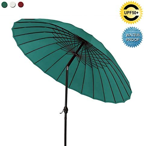 ABCCANOPY Patio Umbrella 9FT Outdoor Umbrella 18 Ribs Market Umbrella with Push Button Tilt and Crank, Sun shelter for Garden, Deck and Pool