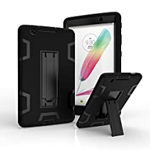 LG G Pad III 8.0 Case, MAKEIT Rugged High Impact Hybrid Drop Proof Armor Defender Full-Body Protection Case Convertible Built in Stand for LG G Pad X 8.0 V521/G Pad III 8.0 V525 2016 (T-Mobile)(Black/Black)
