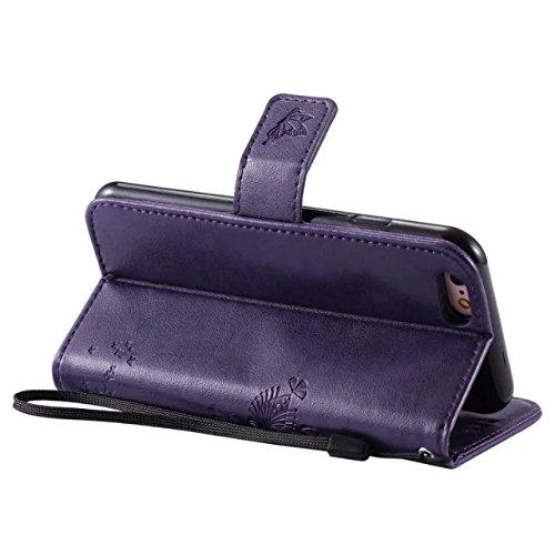 Solid Color Premium PU-Leder-Etui Prägung Muster Flip-Standplatz Fall Deckung mit Karte und Bargeld Schlitze für iPhone 6 6s 4,7 Zoll ( Color : Purple )