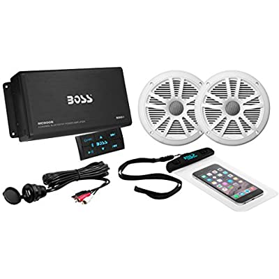 Boss Audio ask902b 6  500  W 4-Channel Bluetooth Amplifier and 180  W Marine Speakers Pair Set