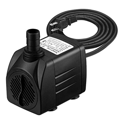 400 Pump - Homasy 400GPH Submersible Pump 25W Fountain Water Pump with 5.9ft Power Cord, 2 Nozzles for Aquarium, Fish Tank, Pond, Statuary, Hydroponics
