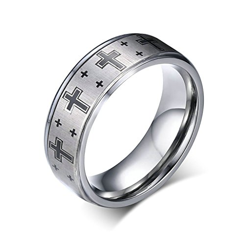 Alimab Jewelery Rings Mens Tungsten Wedding Bands Smooth Cross Silver Size - Margiela 11 Martin Maison