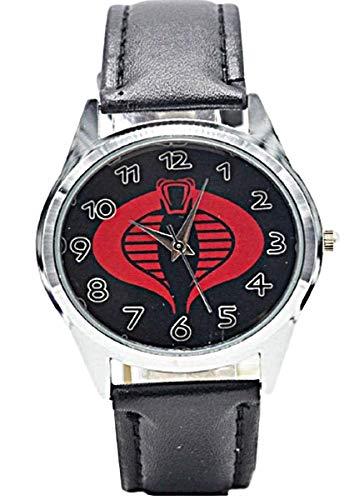 Gi Joe Red Cobra Logo Genuine Leather Band Wrist Watch