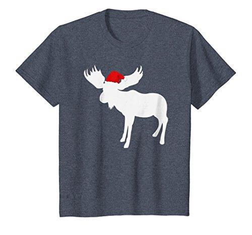 Kids Christmas Moose T-Shirt - Funny Christmas Moose Pajamas Tee 10 Heather ()