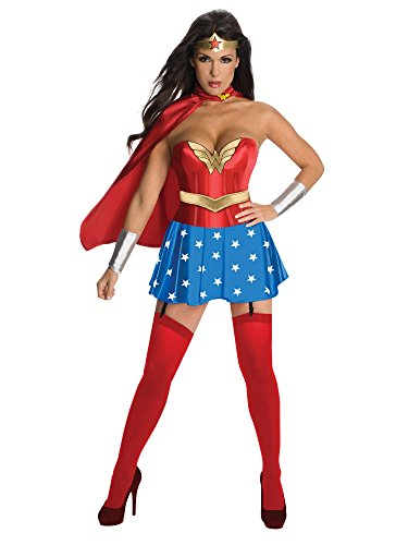 Secret Wishes Womens DC Comics Wonder Woman Corset Costume, Red/White/Blue, X-Small -