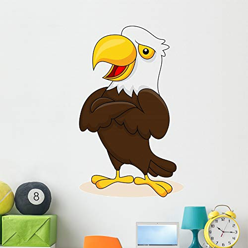 Wallmonkeys Eagle Cartoon Posing Wall Decal Peel and Stick Animal Graphics (48 in H x 29 in W) WM200487 ()