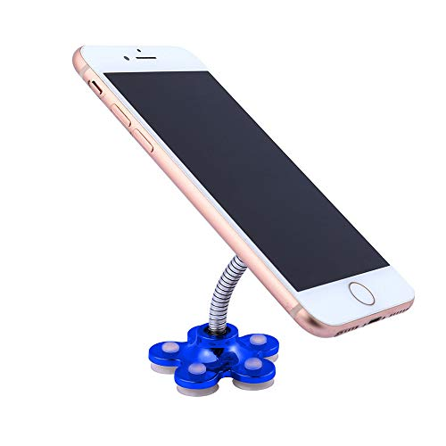 LIMSHOP Cell Phone Holder for Car, Metal Adjustable Stand, Sucker 360° Rotatable Flower Multi-Angle Ipad Phone Blue (Universal Cell Phone Holder With Suction Cup)