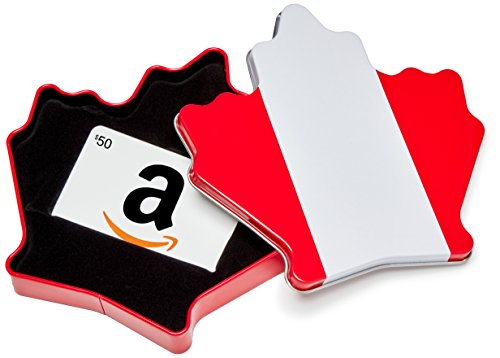 Amazon.ca $50 Gift Card in a Maple Leaf Tin (Classic White Card Design)