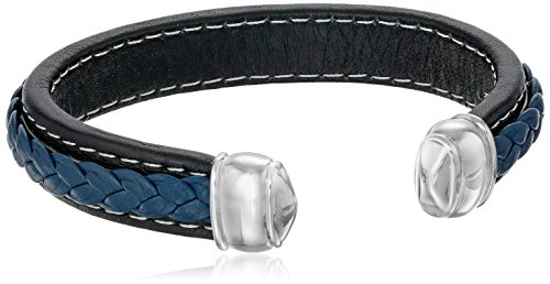 Men's Stainless Steel and Black Leather Cuff Bracelet by Amazon Collection