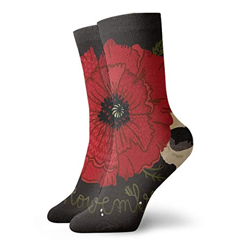 YUANSHAN Socks Rose Skull Women & Men Socks Soccer Sock Sport Tube Stockings Length 11.8Inch -