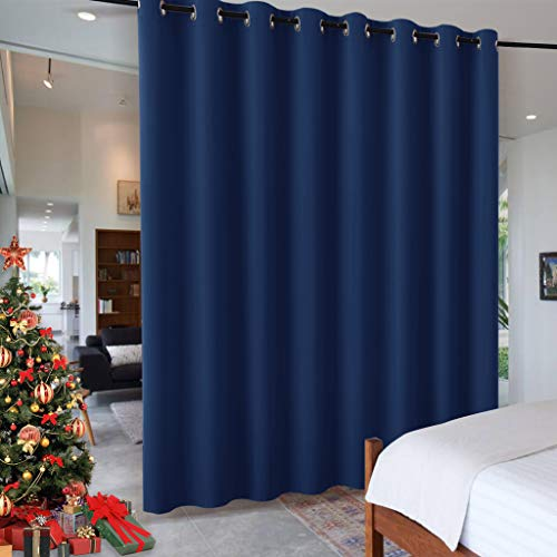 RYB HOME Bedroom Space Room Divider, Light Block Noise Reduce Insulated Curtain Drape Super Soft Screen Ceiling to Floor for Locker Room/Basement, Wide 15ft x Tall 8ft, Navy Blue, 1 ()