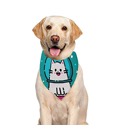 JTMOVING Dog Scarf Happy Emoticon Cat Space Colorful Printing Dog Bandana Triangle Kerchief Bibs Accessories for Large Boy Girl Dogs Cats Pets Birthday Party Gift