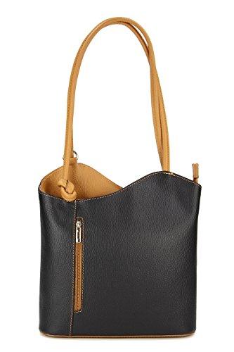 BELLI ital Bolso de piel 2 en 1, para mujer, mochila, bolso de hombro, 28 x 28 x 8 cm (anch. x alt. x prof.) negro - negro