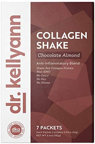 Keto Chocolate Almond Shakes - 100% Grass Fed Collagen Protein by Bone Broth Expert Dr. Kellyann - Gluten Free, Dairy Free, Soy Free, Non-GMO - Perfect for Keto, Paleo & Weight loss Diets (7 servings)