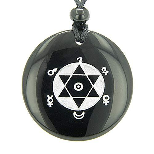 King Solomon Seal of Success Amulet Black Agate Pendant Necklace