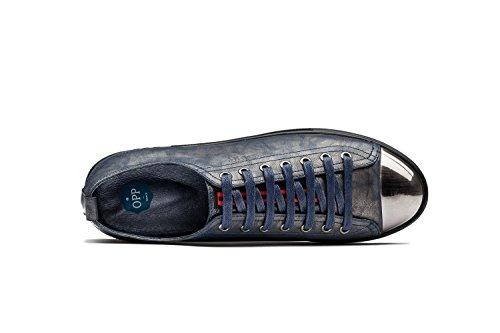 OPP Hombres Flats Zapatos de Piel Azul