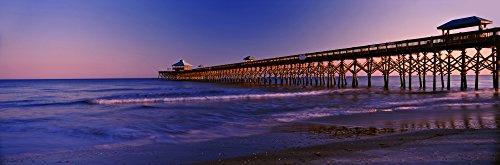 Posterazzi PPI151335S Ocean Fishing Pier Beach Folly Island Charleston County South Carolina USA Poster Print, 27 x 9 ()
