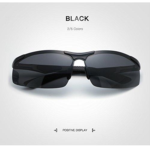 de Adultos Deportiva Polaroid Gafas Gafas Sun de Grandes para rebordes Sol Marco Sol sin de Sol Gafas sin XZP Gafas de Gafas Male Gafas Rectángulo de de Unisex Black conducción Sol para UV400 Moda Espejo SIqTTZ