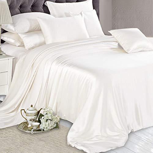 Blossoms Bedding 100% Pure Silk Satin Sheet Set 4pcs, Silk Fitted Sheet 15'' Deep Pocket,Silk Flat Sheet & Pillowcases Set !!! Full, Lilac