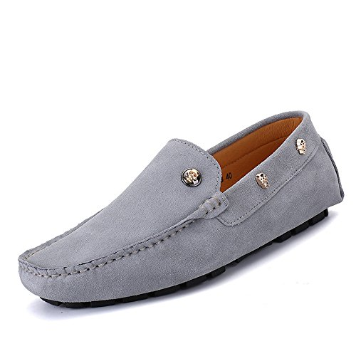 da Skull in Decor Guida Gray Cricket Vera Scarpe Pelle Mocassini Mocassini da Soft Uomo dScqwdE8