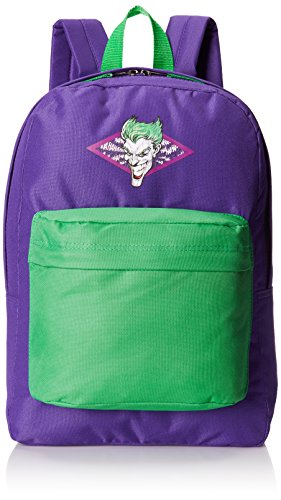 DC Comics Men's Joker Front Pocket Backpack with Distressed Screen Print, Purple, One Size -