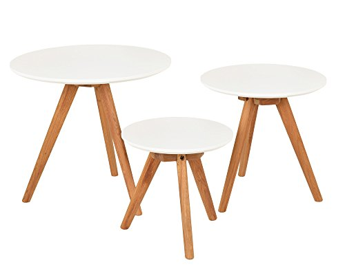ts-ideen 3er Set Design Beistelltische rund Eiche weiß Kaffeetisch ...